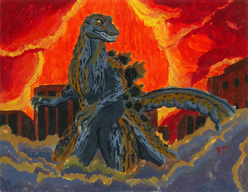 Godzilla Acrylic Painting- BenjaminToyne.com